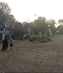 We enjoyed watching a hot air balloon fly over the horizon on the Renaissance village as the afternoon drew to a close.